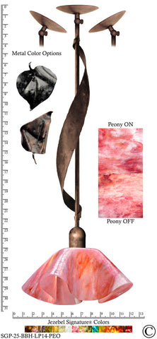 Jezebel Signature® Sweetgrass Pendant. Hardware: Brown with Brown Highlights. Glass: Peony, Lily Style - PeazzLighting