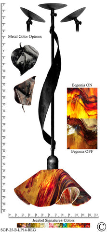 Jezebel Signature® Sweetgrass Pendant. Hardware: Black. Glass: Begonia, Lily Style - PeazzLighting
