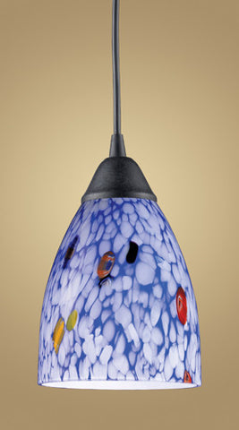 ELK Lighting 406-1Bl One Light Pendant In Dark Rust And Starlight Blue Glass - PeazzLighting