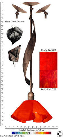 Jezebel Radiance® Sweetgrass Pendant. Hardware: Brown with Brown Highlights. Glass: Really Red, Lily Style - PeazzLighting