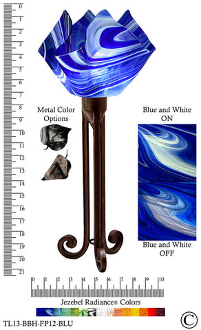 Jezebel Radiance® Torch Light. Hardware: Brown with Brown Highlights. Glass: Blue and White, Flame Style - PeazzLighting