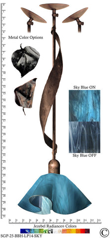 Jezebel Radiance® Sweetgrass Pendant. Hardware: Brown with Brown Highlights. Glass: Sky Blue, Lily Style - PeazzLighting