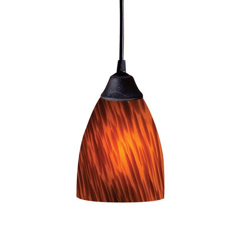 ELK Lighting 406-1Es One Light Pendant In Dark Rust And Espresso Glass - PeazzLighting