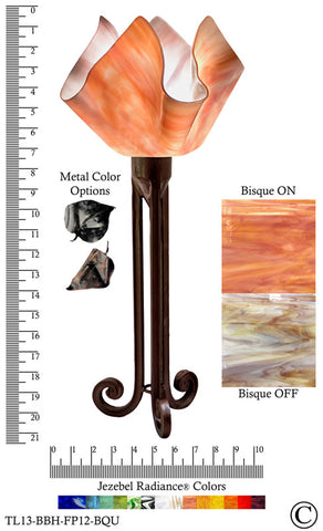 Jezebel Radiance® Torch Light. Hardware: Brown with Brown Highlights. Glass: Bisque, Flame Style - PeazzLighting