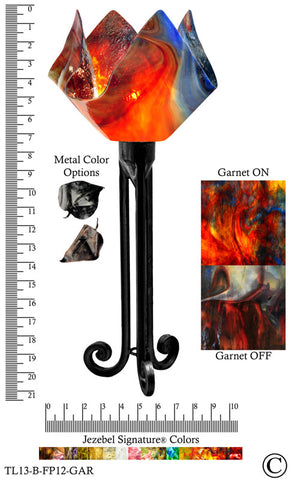 Jezebel Signature® Torch Light. Hardware: Black. Glass: Garnet, Flame Style - PeazzLighting