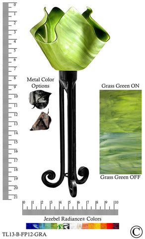 Jezebel Radiance® Torch Light. Hardware: Black. Glass: Grass Green, Flame Style - PeazzLighting