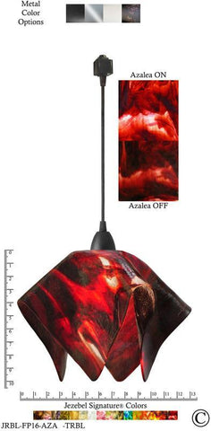 Jezebel Signature® Flame Track Lighting Pendant Large. Hardware: Black. Glass: Azalea - PeazzLighting