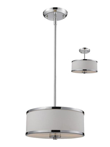 Z-Lite 164-12 Cameo Collection White/Chrome Finish 2 Light Convertible Pendant - ZLiteStore