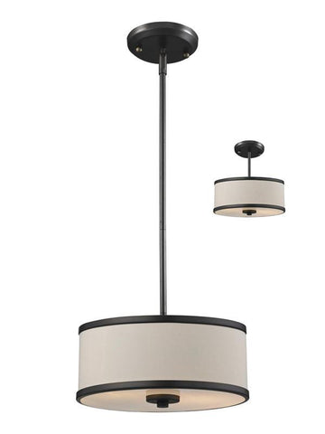 Z-Lite 165-12 Cameo Collection Crème/Bronze Finish 2 Light Convertible Pendant - ZLiteStore