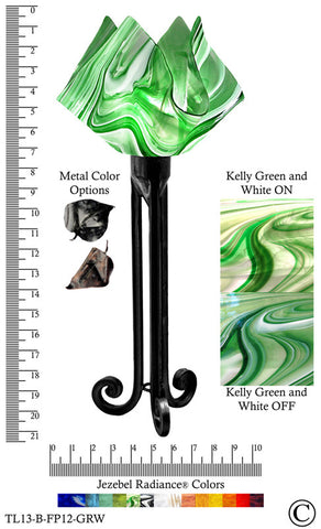 Jezebel Radiance® Torch Light. Hardware: Black. Glass: Kelly Green and White, Flame Style - PeazzLighting