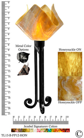 Jezebel Signature® Torch Light. Hardware: Black. Glass: Honeysuckle, Flame Style - PeazzLighting