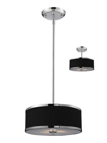 Z-Lite 168-12 Cameo Collection Black/Chrome Finish 2 Light Convertible Pendant - ZLiteStore