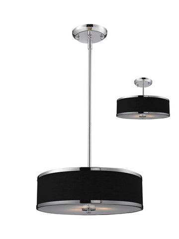 Z-Lite 168-16 Cameo Collection Black/Chrome Finish 3 Light Convertible Pendant - ZLiteStore
