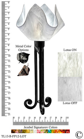 Jezebel Signature® Torch Light. Hardware: Black. Glass: Lotus, Flame Style - PeazzLighting