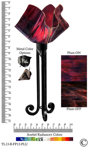 Jezebel Radiance® Torch Light. Hardware: Black. Glass: Plum, Flame Style - PeazzLighting