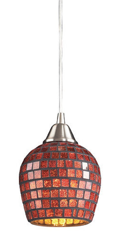 ELK Lighting 528-1Gld One Light Pendant In Satin Nickel And Gold Mosaic Glass - PeazzLighting