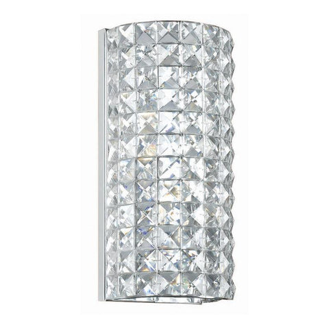 Crystorama 802-CH-CL-MWP 2-Lights Hand Polished Crystal Wall Sconce - Polished Chrome - PeazzLighting