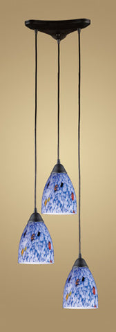 ELK Lighting 406-3Bl Three Light Pendant In Dark Rust And Starlight Blue Glass - PeazzLighting