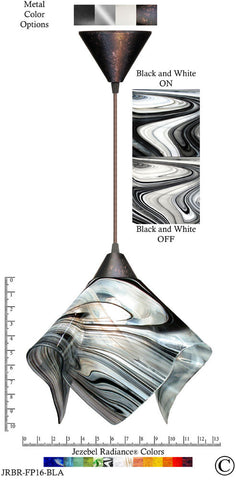 Jezebel Radiance Flame Pendant Large - Hardware Brown - Glass Black And White - PeazzLighting