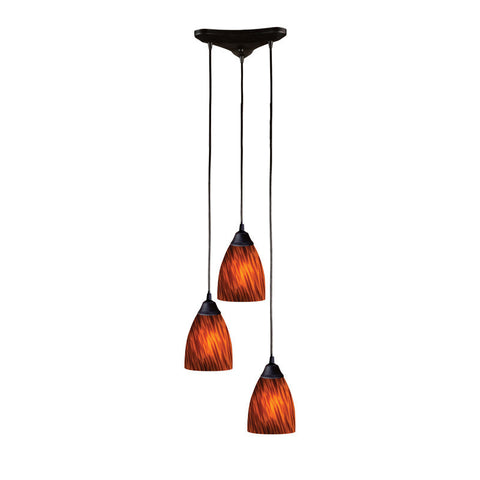 ELK Lighting 406-3Es Three Light Pendant In Dark Rust And Espresso Glass - PeazzLighting