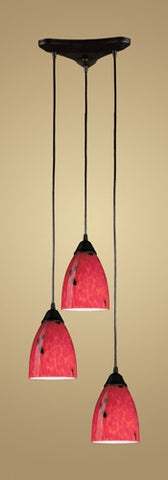 ELK Lighting 406-3Fr Three Light Pendant In Dark Rust And Fire Red Glass - PeazzLighting