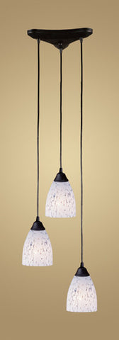 ELK Lighting 406-3Sw Three Light Pendant In Dark Rust And Show White Glass - PeazzLighting