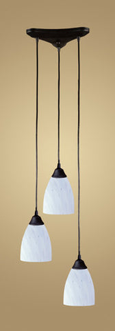 ELK Lighting 406-3Wh Three Light Pendant In Dark Rust And Simply White Glass - PeazzLighting