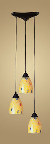 ELK Lighting 406-3Yw Three Light Pendant In Dark Rust And Yellow Blaze Glass - PeazzLighting