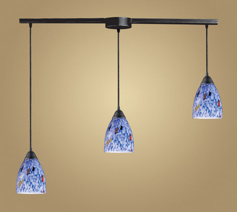 ELK Lighting 406-3L-Bl Three Light Pendant In Dark Rust And Starlight Blue Glass - PeazzLighting