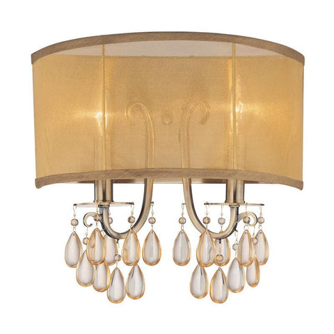 Crystorama 5622-AB 2-Lights Antique Brass Wall Sconce Accented With Etruscan Smooth Oyster Crystals And Gold Silk Shimmer Shade - Antique Brass - PeazzLighting