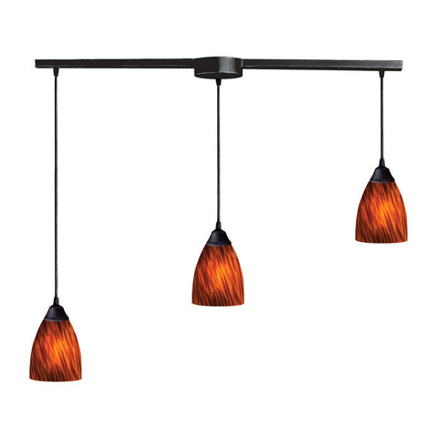 ELK Lighting 406-3L-Es Three Light Pendant In Dark Rust And Espresso Glass - PeazzLighting