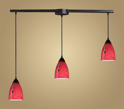 ELK Lighting 406-3L-Fr Three Light Pendant In Dark Rust And Fire Red Glass - PeazzLighting