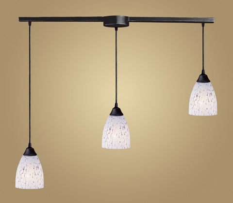 ELK Lighting 406-3L-Sw Three Light Pendant In Dark Rust And Show White Glass - PeazzLighting