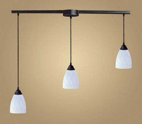 ELK Lighting 406-3L-Wh Three Light Pendant In Dark Rust And Simply White Glass - PeazzLighting