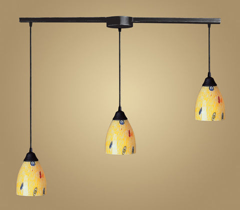 ELK Lighting 406-3L-Yw Three Light Pendant In Dark Rust And Yellow Blaze Glass - PeazzLighting