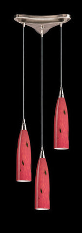 ELK Lighting 501-3Fr Three Light Pendant In Satin Nickel And Fire Red Glass - PeazzLighting