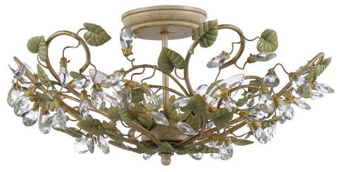 Crystorama 4840-CT 3-Lights Semi Flush Mount With Clear Crystal Accents And Wrought Iron Handpainted In Champagne Green Tea Finish. - Champange Green Tea - PeazzLighting