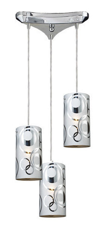 ELK Lighting 31076-3 Chromia Three Light  Pendant In Polished Chrome - PeazzLighting