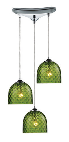 ELK Lighting 31080-3Grn Viva Three Light Green Pendant In Polished Chrome - PeazzLighting