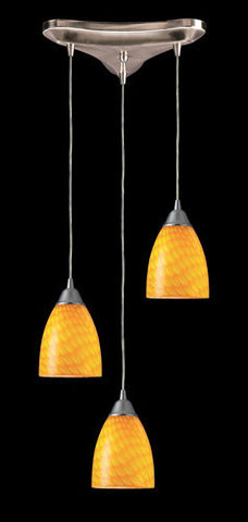 ELK Lighting 416-3Cn Three Light Pendant In Satin Nickel And Canary Glass - PeazzLighting