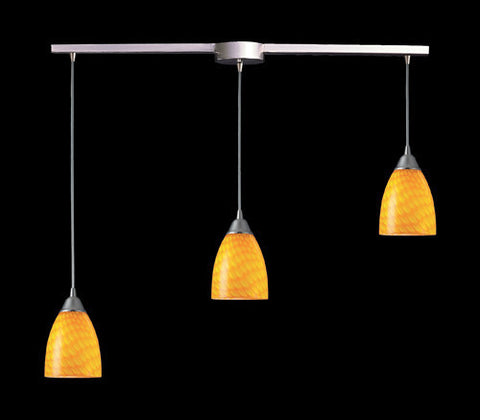 ELK Lighting 416-3L-Cn Three Light Pendant In Satin Nickel And Canary Glass - PeazzLighting