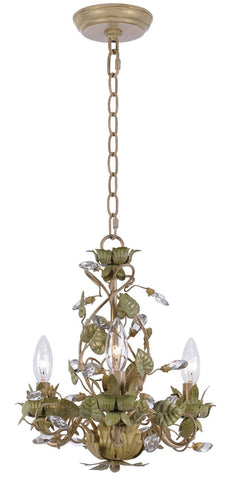 Crystorama Mini chandelier with clear crystal accents and wrought iron handpainted in Champagne Green Tea finish. 3 Lights - Champange Green Tea - 4843-CT - PeazzLighting