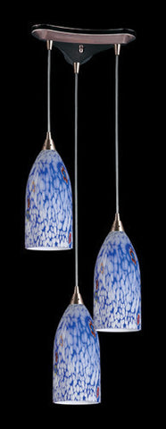 ELK Lighting 502-3Bl Three Light Pendant In Satin Nickel And Starlight Blue Glass - PeazzLighting