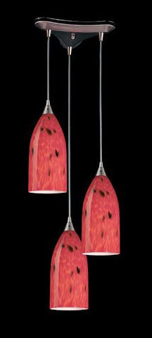 ELK Lighting 502-3Fr Three Light Pendant In Satin Nickel And Fire Red Glass - PeazzLighting