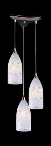 ELK Lighting 502-3Sw Three Light Pendant In Satin Nickel And Snow White Glass - PeazzLighting