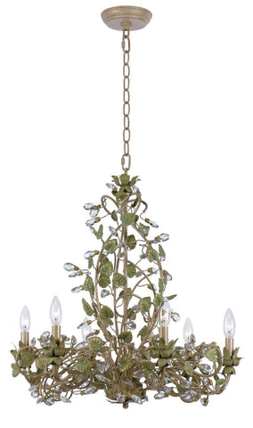 Crystorama Chandelier with clear crystal accents and wrought iron handpainted in Champagne Green Tea finish. 6 Lights - Champange Green Tea - 4846-CT - PeazzLighting