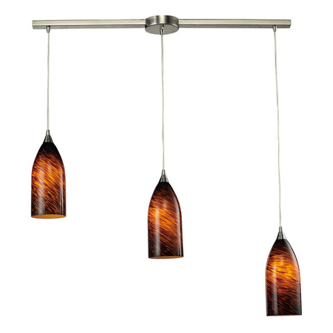 ELK Lighting 502-3L-Es Three Light Pendant In Satin Nickel And Espresso Glass - PeazzLighting
