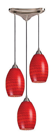 ELK Lighting 517-3Sc Three Light Pendant In Satin Nickel And Scarlet Red Glass - PeazzLighting