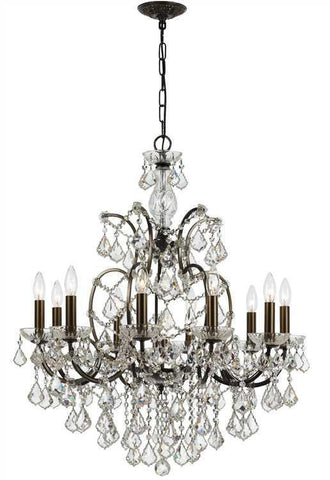 Crystorama 4458-VZ-CL-MWP Filmore 10 Light Clear Crystal Bronze Chandelier - PeazzLighting