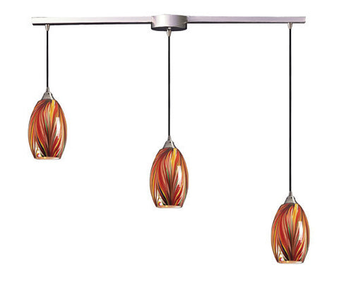 ELK Lighting 517-3L-M Three Light Pendant In Satin Nickel And Multi Glass - PeazzLighting